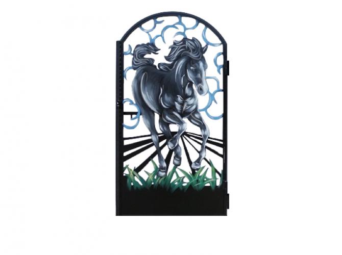 """Калитка художественной резки с росписью №34 """"Табун"""" 0,9х1,75 - 7412023.ru"""