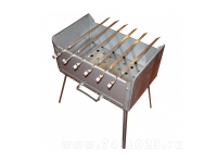 Мангал (жаровня толщиной 1,5 мм.) + 6 шампуров (410х280х210) - 7412023.ru
