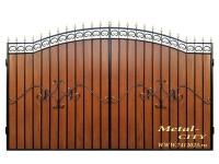 Ворота кованые №21 (темное дерево) - 7412023.ru