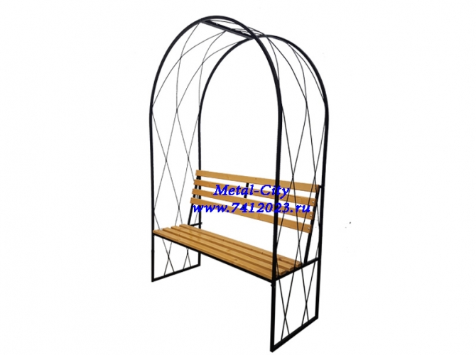 Скамейка садовая СК-16 с перголой  - 7412023.ru