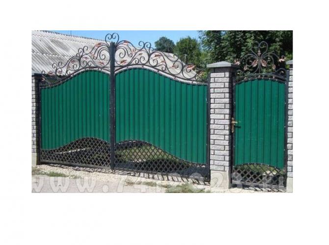 Калитка к кованым воротам №22 зеленая - 7412023.ru