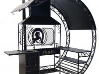 Профессиональный мангал с печью под казан, вертелом столом и большой крышей.  - 7412023.ru